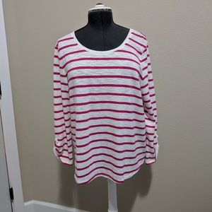 Chico's pink and white striped shirt. Size 3